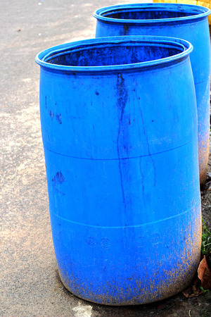 Blue bins in the street. photo