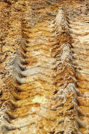 Wheel tracks on the soil. Stock Photo - 22876845
