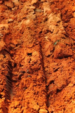 Wheel tracks on the soil. Stock Photo - 22984715