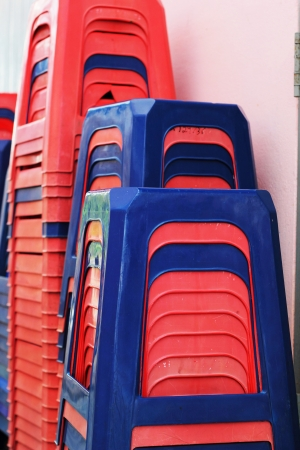 stackable: Plastic chairs - stackable set Rams. Stock Photo