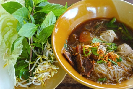 Beef noodles in soup asian style Stock Photo