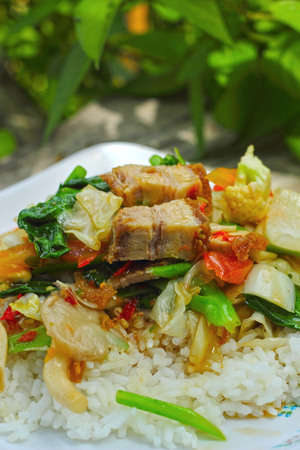 Crispy roasted  pork stir fry with vegetables and rice. photo