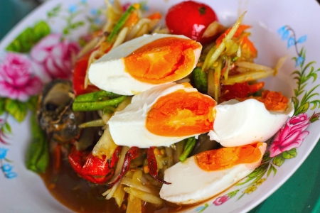 Green papaya salad with salted egg. Stock Photo - 23758606