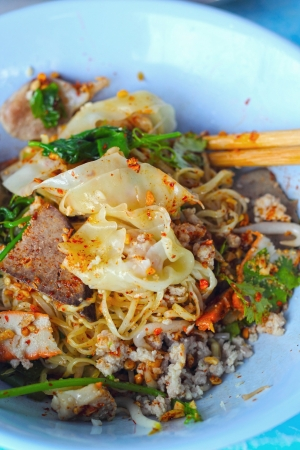 Pork noodles in  asian style photo