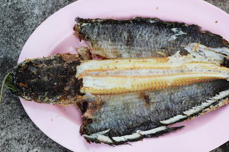 snake head fish: Testa di pesce Grill serpente con sale rivestite