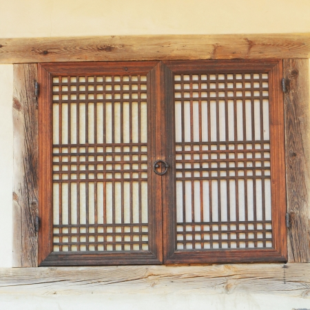 Old wooden  window at the South Korea. Banco de Imagens