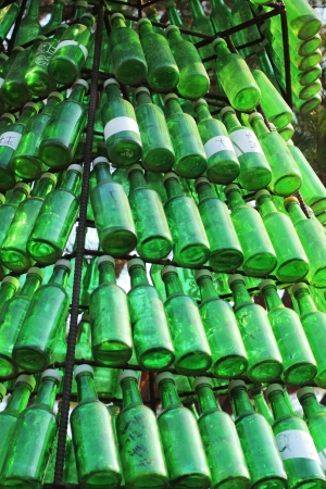 Soju bottles - green alcohol closely. Stock Photo