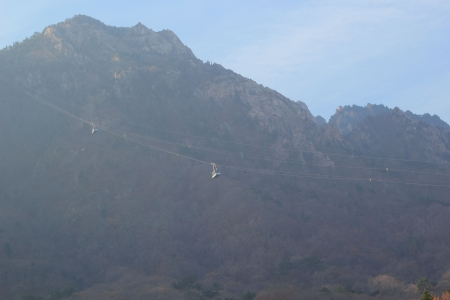 beautiful landscape at Seoraksan Korea with Lifts gondola photo