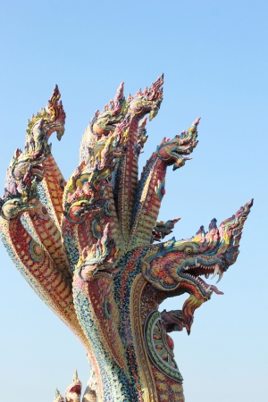 Thai dragon, King of Naga statue in Temple Thailand. photo