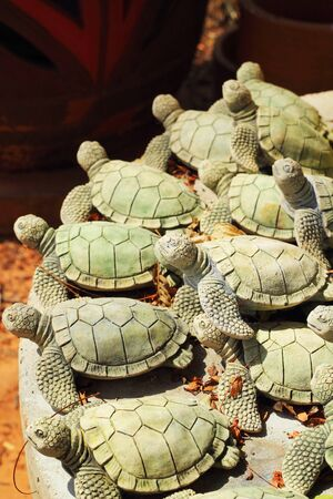 ancient turtles: Earthenware pottery turtle beautifully decorated
