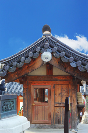 Traditional wooden houses in South Korea photo