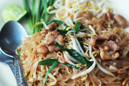 Stir fried rice noodle on plate. Stock Photo - 25161808