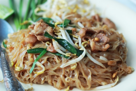 Stir fried rice noodle on plate. Stock Photo - 25272520