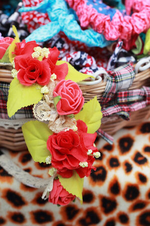 Beautiful headband with flower a variety in markets. photo