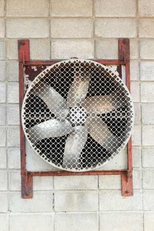 coolant temperature: Industrial fan in the rear wall   Stock Photo