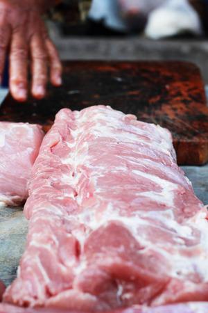Raw pork in the market photo