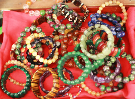 Jewelry bracelets in the market photo