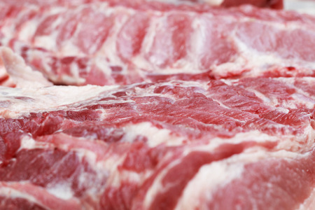 uncooked bacon: Fresh raw pork textured - in the market Stock Photo