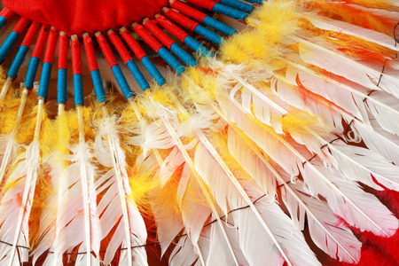indian chief mascot: native american indian chief headdress Stock Photo