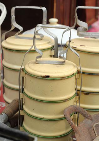 tiffin: tiffin  vintage old sold in the market.