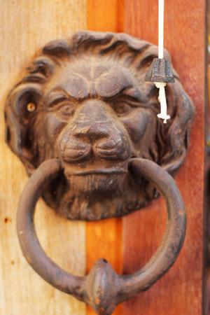 Door handle sculpted lion head on an ancient wooden door. photo