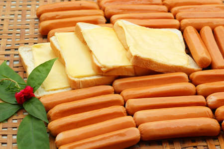 cheese the place on a slice of bread and sausage. photo