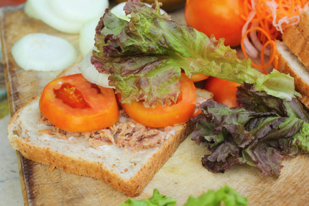 making tuna sandwich with fresh vegetables photo