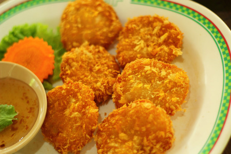 Fried shrimp patty in the market photo