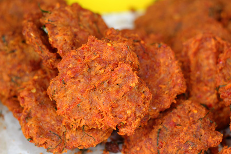 Fried fish patty in the market photo