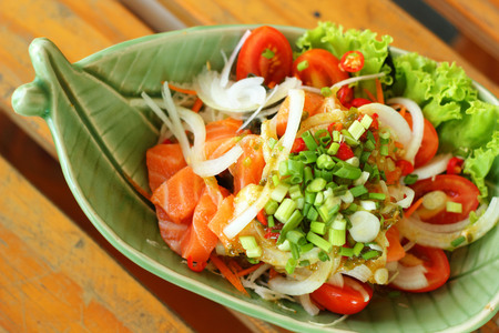catering food: Fresh salmon salad with spices - Japanese food.