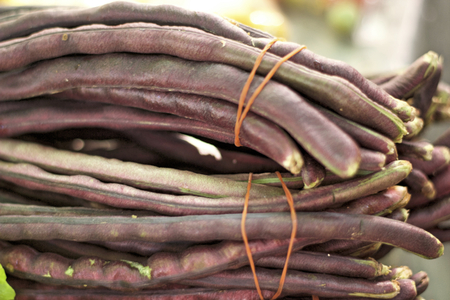Red long beans on the market photo