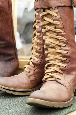 barn boots: Close up of vintage cowboy boots