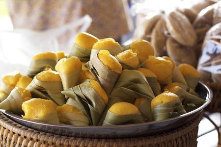 flavoured: Palm flavoured mini cake wrapped - dessert thai Stock Photo