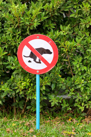 illegal zone: Signs symbolize ban feces dog