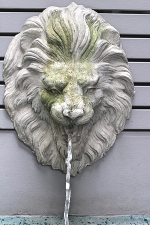 spitting: lion statue spitting water  vintage style