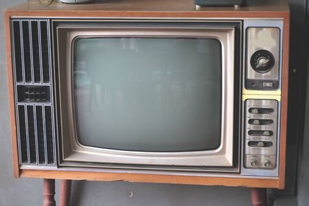 television set: vintage old television set for display. Stock Photo