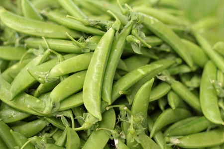 heap of snow: Snow peas at the market