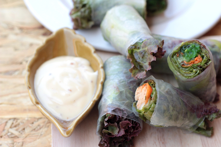 Vegetable salad wrapped into spring rolls delicious photo