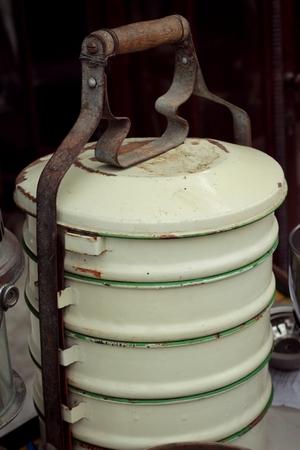 tiffin: Yellow metal tiffin old vintage ,thai food carrier