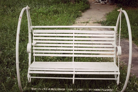 teeter: White swing chair vintage with the nature Stock Photo