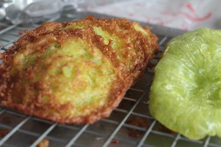 dann: Thailand Dessert Mix Mehl Kokosnuss und dann gebraten. Lizenzfreie Bilder