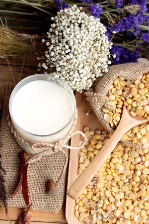 soya: Soy milk with soya beans Stock Photo