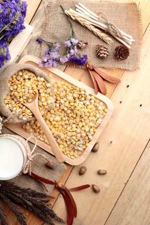 soya beans: Soy milk with soya beans Stock Photo