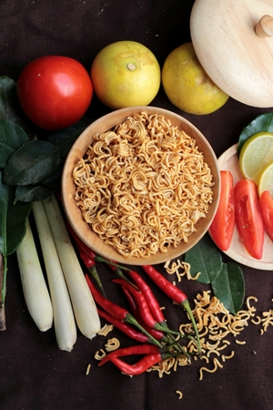 instant ramen: Dry instant noodle - asian ramen and vegetables for the soup