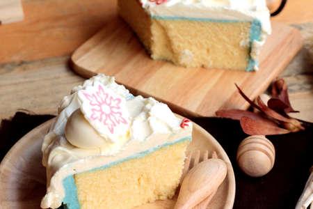 white cream: White cream cake delicious on wood background