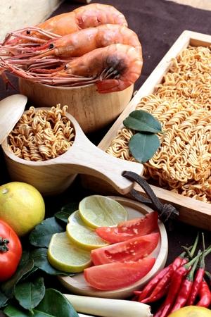 instant ramen: Dry instant noodle - asian ramen and shrimp ,vegetables for soup