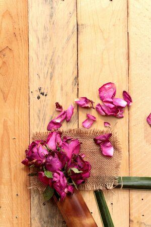 sprinkled: Pink roses and rose petals were sprinkled fallen Stock Photo