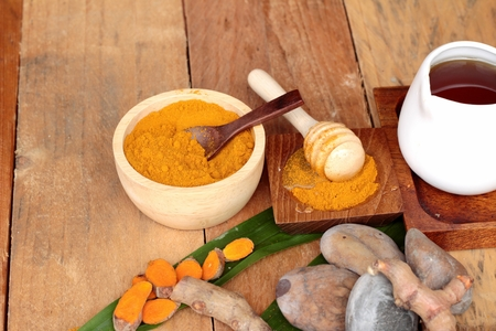 inhibit: Phlai herb, Cassumunar ginger both fresh and as a powder for the skin scrub