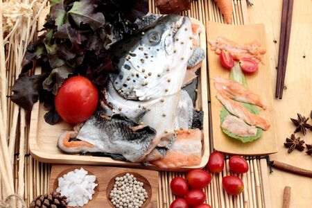 head for: Salmon head for cooking and fresh salmon fillets