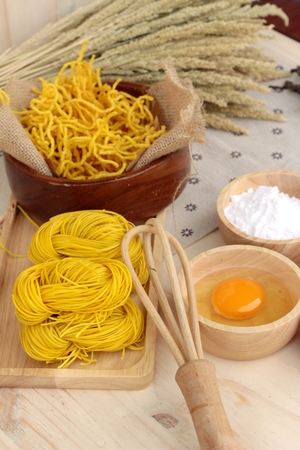 yellow flour: Making yellow noodle with egg and wheat flour